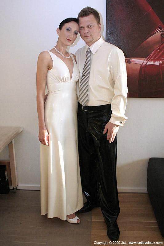 latex wedding gown and suit